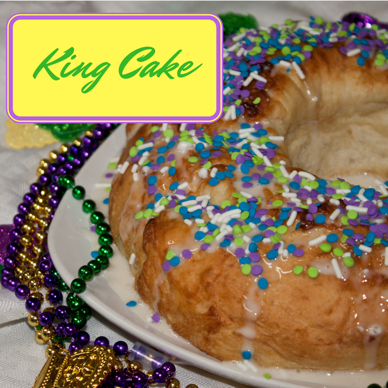 King Cake is only available during Mardi Gras – a brioche style cake filled with cinnamon and sugar and decorated with the Mardi Gras colors. What makes the cake special is the plastic baby that is baked inside. The lucky person that finds it in their piece gets to provide the cake (or the whole party) the next time!